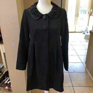 Black floral embossed peacoat size 4- forever 21